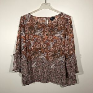 Lane Bryant Brown Paisley Bell Sleeve Blouse SZ 24